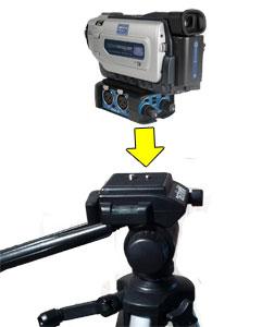 The BeachTek DXA-2T mounted under a camcorder