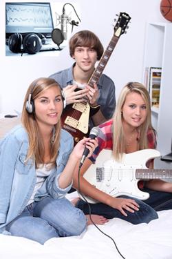 3 kids home recording studio