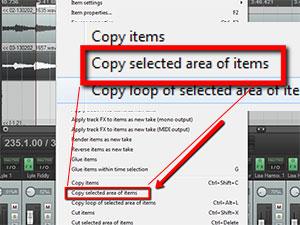 Reaper Tips: Copy-Selected drop-down