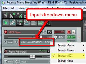 Reaper MIDI Input