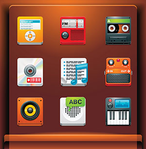 various audio recording effects and  virtual instruments