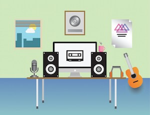 Digitally generated home recording studio vector