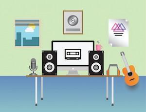 Digitally generated home recording studio vector