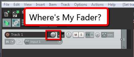 Where Is The Track Volume Slider In Reaper 5?