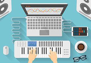 computer and MIDI keyboard