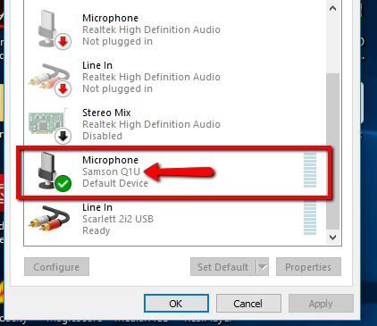 How Samson mic shows u in Sound settings